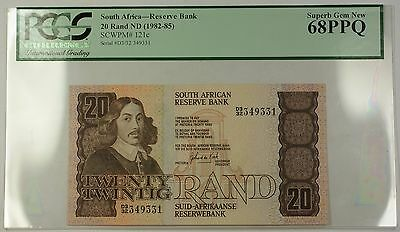 (1982-85) No Date South Africa 20 Rand Bank Note SCWPM# 121c PCGS 68 Gem PPQ