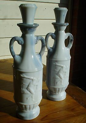 Pair of Vintage Marble Decanter's with Roman Discus Thrower on Sides 1971