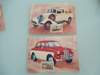 australia's classic cars x 2  Austin Lancer 1958 and ford coupe 1934 maxi cards