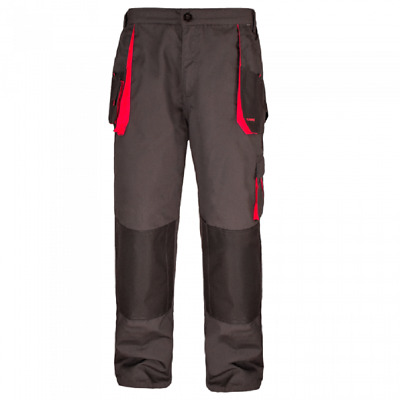 Work Trousers Mens Cargo Combat Style Heavy Duty Knee pads pockets Grey&red