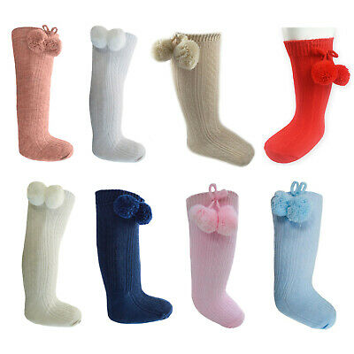 Baby Boys Girls 1 Pair Pom Pom Spanish Romany Style Knee-Length Stretch Socks 47