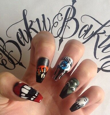 Hand Painted False Nails Halloween Square Coffin Nail Art Full Cover Tips