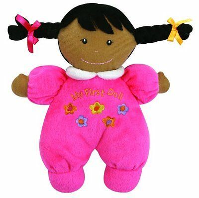 Ultra Soft Plush My First Doll with Dark Complexion and Black Hair, Hot Pink