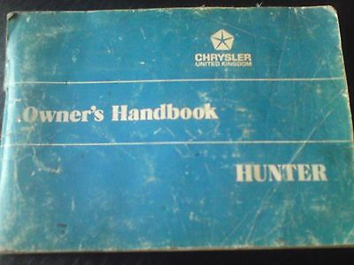 Chrysler Hunter Owners Handbook,hillman,genuine Old But Readable,very Useful