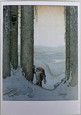 HELJE ArtPostCard  GNOME and OWL Tomte Nisse Santa Sweden FREE SHIPPING