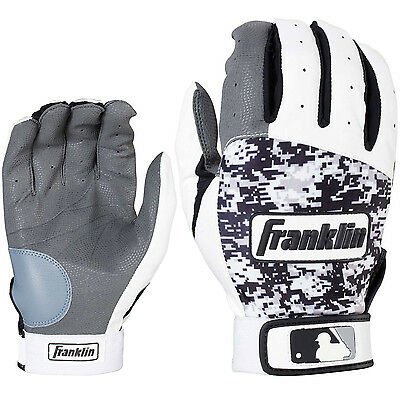 Franklin Digitek Adult Baseball/Softball Batting Gloves - White/Black - Small