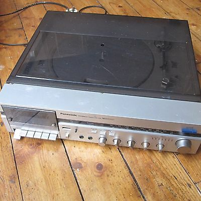 Panasonic SG-V04 Vintage Stereo Record Player Turntable + Radio Cassette Silver