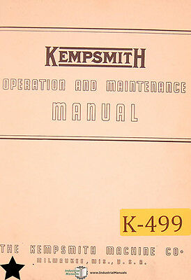 Kempsmith Type G, Milling Machine, Operations Parts and Maintenance Manual