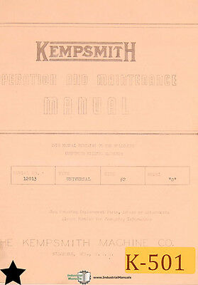 Kempsmith 2 Model G and GE, Milling Operations and Maintenance Manual 1952