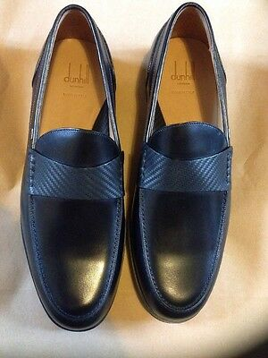 Alfred Dunhill New Chassis Black Leather Loafers Shoes Size 8