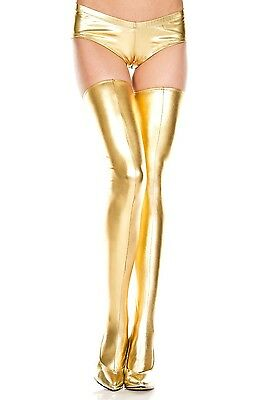 """""""Wet Look"""" Lace up Thigh Hi! Gold - Silver or Black! One Size! Exotic Dancer"""