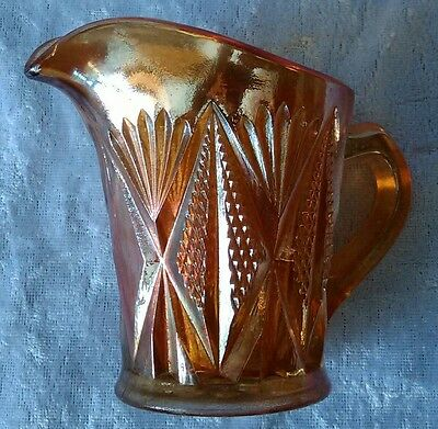 Vintage Marigold Carnival Glass Split Diamond Creamer Jug Lustre Sowerby Orange