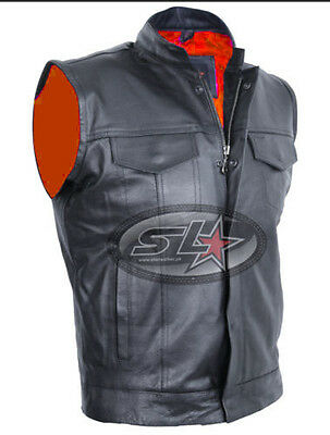 Real Leather Mens Son Of Anarchy Gun Pocket Motorcycle Biker Cut Off Waistcoat