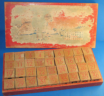 Vintage box with set of LEGO wood blocks Type 500