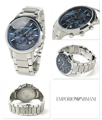 New Emporio Armani Ar2448 Mens Stainless Steel Blue Dial Chronograph Mens Watch