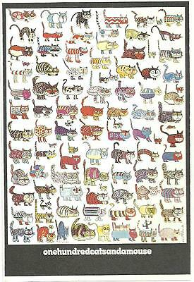 """Poster-One Hundred Cats and a Mouse -by Vittorio Fiorucci-Offset-1972 -37.5""""x25"""""""
