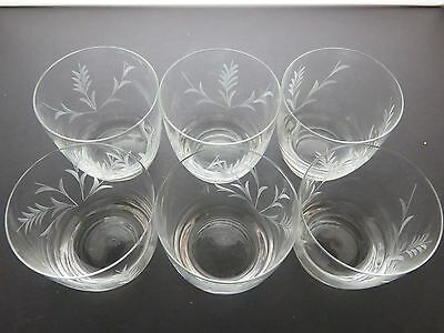 Vintage Etched Leaves Pattern Glasses /tumblers Set Of 6