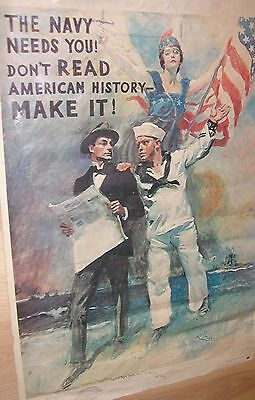 """VINTAGE 1974 NAVY RECRUITING POSTER 35""""H x 24""""W"""