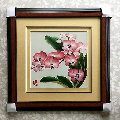 Chinese Silk Embroidery Orchids Framed Picture