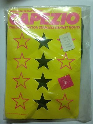 Capezio 3500C Children's Size Large Black Seamless Footed Fishnet Tights