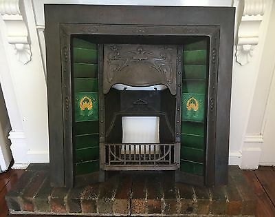 Late Victorian/ Edwardian Cast Iron Fireplace Insert with Tile surround