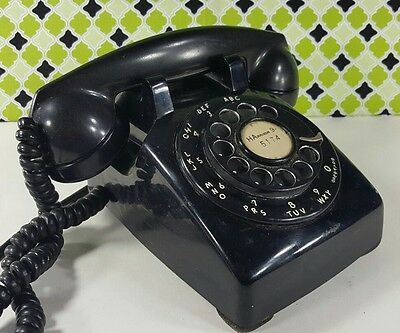 Vintage Western Electric Black 5302G Rotary Desk Phone - Untested Bell Systems
