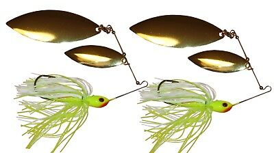 SPINNER BAIT 3//8OZ WITH DOUBLE WILLOW BLADE  WHITE PINK  FISHING LURE