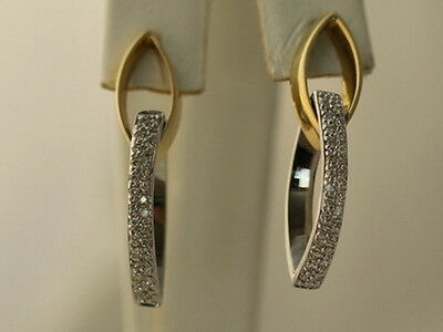 14kt Yellow and White Gold Two Tone Pave Diamond Marquis Shaped Earrings