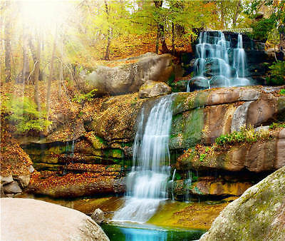 Illuminated Sunset Waterfall Full Wall Mural Photo Wallpaper Print Home 3D Decal