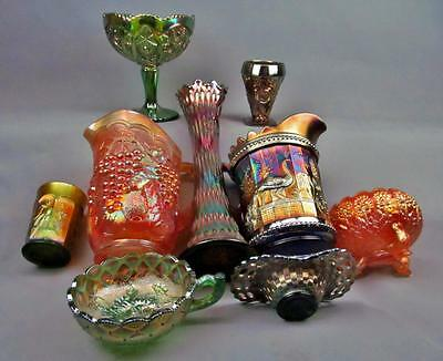 CARNIVAL GLASS LOT - 9 SHELFERS Northwood Fenton Dugan Imperial Riihimaki