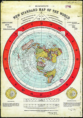 Flat Earth Gleason map A4 ON CARD 1892 Scientifically and Practically Correct