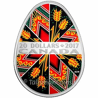 Canada 2017 Pysanka Traditional Ukrainian Egg Shaped $20 Pure Silver Proof Coin