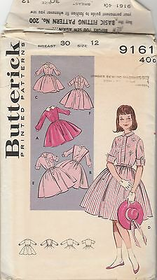 Vintage 1960s Butterick Pattern 9161 Girls Bonus Basic Shirtwaist