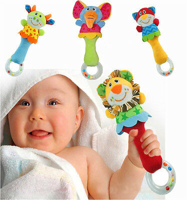 Animal Handbells Developmental Toy Bed Bells Infant Kids Baby Soft Toys Rattles