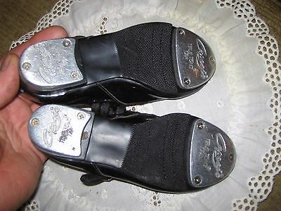 CAPEZIO TODDLER GIRLS BLACK TELE TONE TAP SHOES sz10 1/2 M