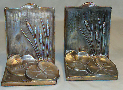 Vintage McClelland Barclay Lillypad & Cattail Bookends 1930's Estate Fresh