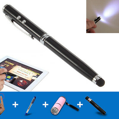 4in1 LED Laser Pointer Torch Touch Screen Stylus Ball Pen for iPhone 5 6S 7 iPad