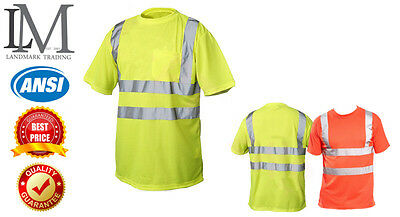 Hl VlS T Shirt ANSI Class 3 Reflective Safety Lime Short SIeeve HlGH VlSIBILITY