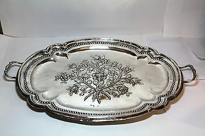RARE Large Antique 1799  Sterling Silver Serving Tray Spain Cordoba 1196 gram !