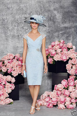 Light Blue Mother of Bride Lace Outfit Pleated with Beading Evening Party Dress