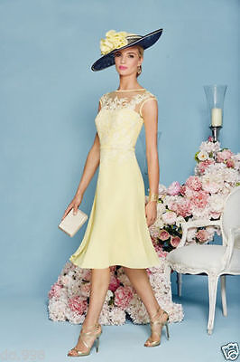 Yellow Lace Mother Of The Bride Dresses Chiffon Knee Length For Wedding Guest