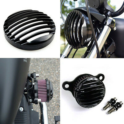 Rough Crafts Air Intake Cleaner+Headlight Grill F HD Sportster XL883 1200 04-14