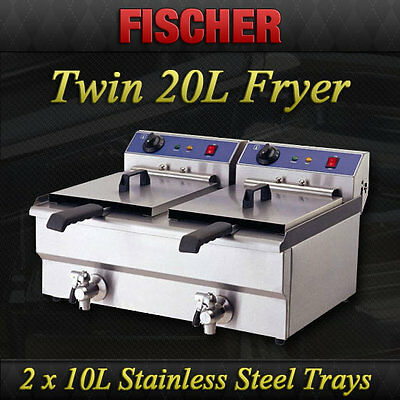 """""""brand New"""" Twin Basket Commercial Deep Fryer Countertop Electric 20L Ef-132V"""