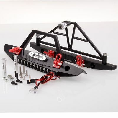 CNC RC 1/10 AXIAL SCX10 Crawler Metal Front / Rear Bumper Spare Tire Carrier LED