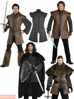 Mens Medieval Warrior Costumes Adults Viking Fancy Dress Tunic Cloak Cape Outfit