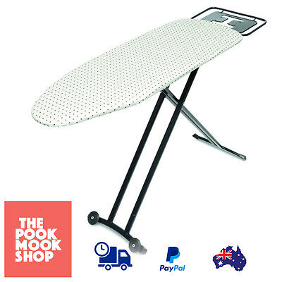 Ironing Board w/ Wheels White Iron Stand, Laundry FOLDABLE Stowaway Dual Leg