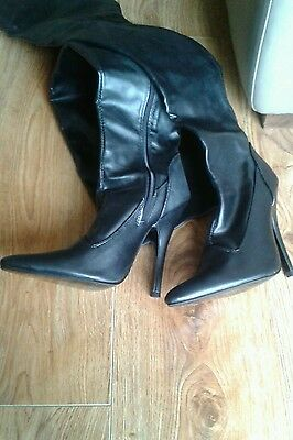 Black thigh length boots size 5/38  fancy dress free postage