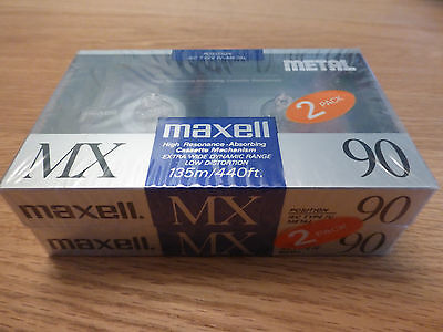 2 x NEW Maxell MX90 retro vintage sealed IEC Type IV METAL cassette tape  90 min