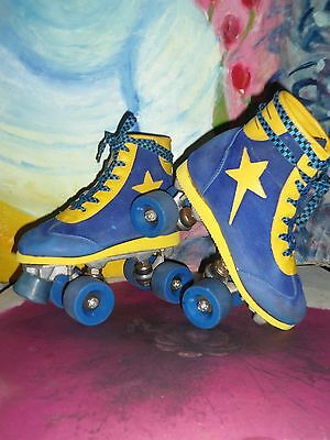 ROLLER SKATES Vintage Retro Blue and Yellow 4 wheeled Size 2UK Adults Unisex