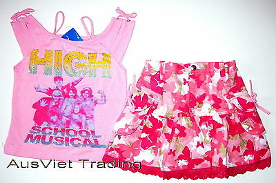 BNWT High School Musical new girls kids tank top tshirt canvas skirt oufit set